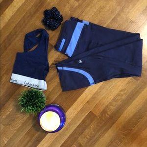 Lululemon Navy and Power Blue Crop Legging